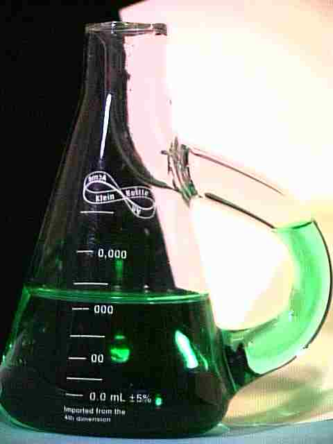 Top Mouth Erlenmeyer Klein Bottle with green water and calibration marks