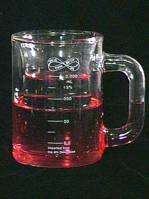 Klein Stein with red wine & water showing calibrations